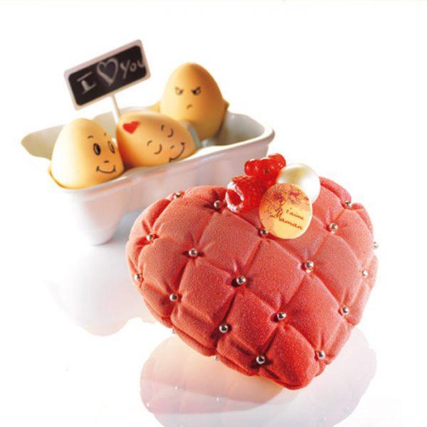 """Molde de plástico mono porção """"coração matelassé"""""""